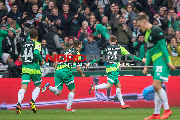 10.02.2019, Weser Stadion, Bremen, GER, 1.FBL, Werder Bremen vs FC Augsburg, <br /> <br /> DFL REGULATIONS PROHIBIT ANY USE OF PHOTOGRAPHS AS IMAGE SEQUENCES AND/OR QUASI-VIDEO.<br /> <br />  im Bild<br /> <br /> jubel 2:0 Johannes Eggestein (Werder Bremen #24) Philipp Bargfrede (Werder Bremen #44)<br /> Max Kruse (Werder Bremen #10)<br /> Niklas Moisander (Werder Bremen #18)<br /> <br /> Foto © nordphoto / Kokenge
