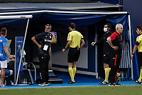 12th July 2020; Estadio Municipal de Butarque, Madrid, Spain; La Liga Football, Club Deportivo Leganes versus Valencia; The referee of the meeting consults the VAR before red carding Jonathan Silva (CD Leganes)