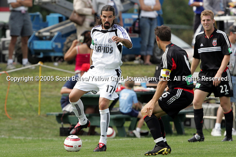 29 August 2005: Newly elected Hall of Famer and Colorado captain Marcelo Balboa (17) is guarded by newly elected Hall of Famer and DC United captain John Harkes. The Colorado Rapids defeated DC United 6-2 at At-A-Glance Field in Oneonta, New York in the 2005 Hall of Fame Game..