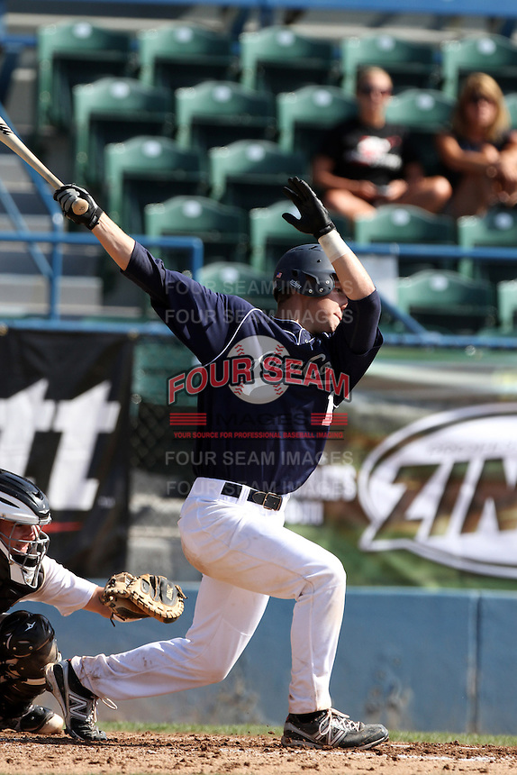 Jarret DeHart participates in the Area Code Games at Blair Field on August 8, 2012 in Long Beach, California. (Larry Goren/Four Seam Images)