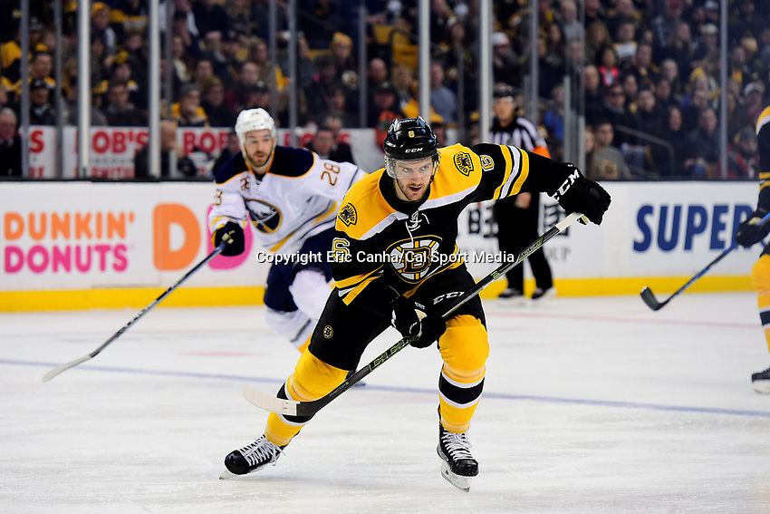 Saturday, December 31, 2016: Boston Bruins defenseman Colin Miller (6) in game action during the National Hockey League game between the Buffalo Sabres and the Boston Bruins held at TD Garden, in Boston, Mass. Boston defeats Buffalo 3-1.  Eric Canha/CSM