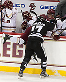 Jesper Mattila (BC - 8), Shane Kavanagh (PC - 17) - The Boston College Eagles defeated the visiting Providence College Friars 3-1 on Friday, October 28, 2016, at Kelley Rink in Conte Forum in Chestnut Hill, Massachusetts.The Boston College Eagles defeated the visiting Providence College Friars 3-1 on Friday, October 28, 2016, at Kelley Rink in Conte Forum in Chestnut Hill, Massachusetts.