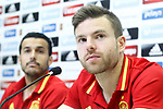Spain's Pedro Rodriguez (l) and Asier Illarramendi in press conference after training session. March 21,2017.(ALTERPHOTOS/Acero)