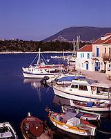 Greece. Ionian Islands. Kefallonia. Fishing boats. Fiskardo village.