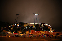 SAN FRANCISCO, CA - JULY 12:  Exterior scenic view of Candlestick Park sitting shrouded in fog after the Legends of Candlestick flag football game in San Francisco, California on July 12, 2014. Photo by Brad Mangin