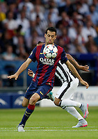 Calcio, finale di Champions League Juventus vs Barcellona all'Olympiastadion di Berlino, 6 giugno 2015.<br /> FC Barcelona's Sergio Busquets controls the ball during the Champions League football final between Juventus Turin and FC Barcelona, at Berlin's Olympiastadion, 6 June 2015. Barcelona won 3-1.<br /> UPDATE IMAGES PRESS/Isabella Bonotto
