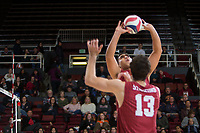 STANFORD, CA - March 3, 2018: Mason Tufuga, Kevin Rakestraw at Maples Pavilion. The Stanford Cardinal lost to Pepperdine, 3-0.