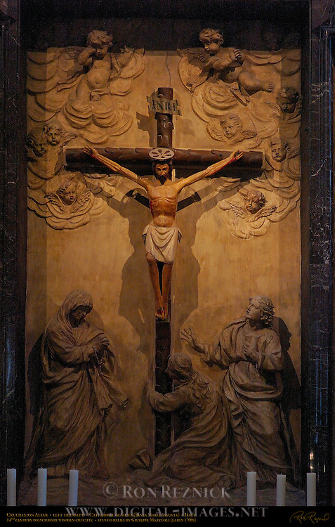Crucifixion Altar Congregation of St. Peter, 14th c. polychrome wooden Crucifix, Stucco Relief Giuseppe Mazzuoli early 1700s, Left Transept, Cathedral of Siena, Santa Maria Assunta, Siena, Italy