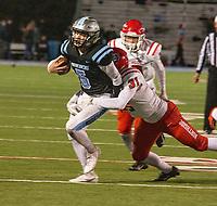Southside quarterback Luke Wyatt is tackled by Northside's Sestson Van Matre during Friday's game at Fort Smith Southside.