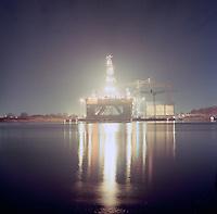 Januari 1989.  Boorplatform YATZY gebouwd door de Boelwerf.