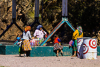 Tarahumara Indian women and girls at the train station, Bahuichivo, Copper Canyon, Mexico