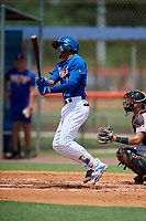 GCL Mets third baseman Cristopher Pujols (72) follows through on a swing during a game against the GCL Marlins on August 3, 2018 at St. Lucie Sports Complex in Port St. Lucie, Florida.  GCL Mets defeated GCL Marlins 3-2.  (Mike Janes/Four Seam Images)