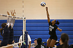 Marymount's Margaret McAlpin hits in a college volleyball game, in Arlington, Vir., on Saturday, Nov. 1, 2014.<br /> Photo by Cathleen Allison