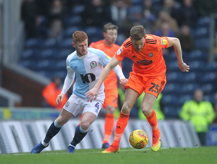 Blackburn Rovers Harrison Reed battles with  Ipswich Town's Callum Elder<br /> <br /> Photographer Mick Walker/CameraSport<br /> <br /> The EFL Sky Bet Championship - Blackburn Rovers v Ipswich Town - Saturday 19 January 2019 - Ewood Park - Blackburn<br /> <br /> World Copyright &copy; 2019 CameraSport. All rights reserved. 43 Linden Ave. Countesthorpe. Leicester. England. LE8 5PG - Tel: +44 (0) 116 277 4147 - admin@camerasport.com - www.camerasport.com