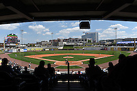 General view of a Birmingham Barons game against the Tennessee Smokies on April 21, 2014 at Regions Field in Birmingham, Alabama.  Tennessee defeated Birmingham 10-5.  (Mike Janes/Four Seam Images)
