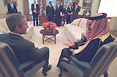 United States President George W. Bush meets with Saud al-Faisal, foreign minister of Saudi Arabia in the Oval Office of the White House in Washington, D.C. on Thursday, September 20, 2001..Mandatory Credit: Paul Morse - White House via CNP.