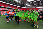 Tranmere Rovers 1 Forest Green Rovers 3, 14/05/2017. Wembley Stadium, Conference play off Final. The Forest Green players celebrate in front of the fans after the Vanarama Conference play off Final  between Tranmere Rovers v Forest Green Rovers at the Wembley. Photo by Paul Thompson.