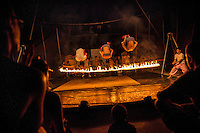 "June 22, 2012 - Battambang (Cambodia). Tourists attend a performance of the students from the ""Phare Ponleu Selpak"", the Cambodian school of circus. © Thomas Cristofoletti / Ruom"