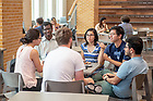 August 20, 2018; Keough School of Global Affairs master degree students chat in Duncan Student Center (Photo by Matt Cashore/University of Notre Dame)