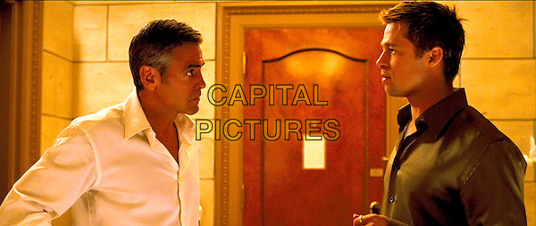 GEORGE CLOONEY & BRAD PITT.in Ocean's Thirteen (13) .**Editorial Use Only**.CAP/PLF.Supplied by Capital Pictures