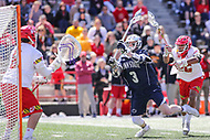 College Park, MD - April 8, 2017: Penn State Nittany Lions Mac O'Keefe (3) scores a goal during game between Penn State and Maryland at  Capital One Field at Maryland Stadium in College Park, MD.  (Photo by Elliott Brown/Media Images International)