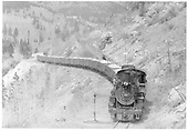 D&amp;RGW #482 descending Monarch Branch switchbacks with limestone loads.<br /> D&amp;RGW  Garfield, CO  Taken by Kindig, Richard H.
