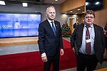 BRUSSELS - BELGIUM - 16 December 2019 -- Agriculture and Fisheries Council meeting - Presidency of Finland. -- Jari Leppä, Minister of Agriculture and Forestry for Finland during his doorstep press briefing with interpreter Jari Peteri. -- PHOTO: Juha ROININEN / EUP-IMAGES