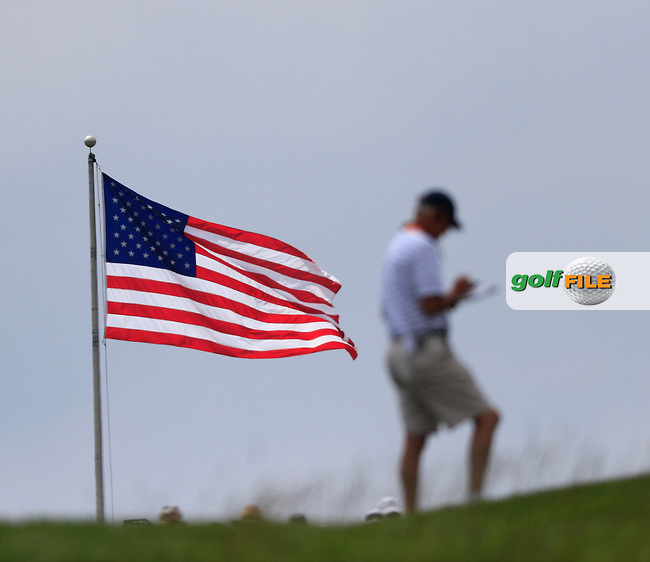 US Flag flying in the breeze during Friday's Round 1 of the 2016 U.S. Open Championship held at Oakmont Country Club, Oakmont, Pittsburgh, Pennsylvania, United States of America. 17th June 2016.<br /> Picture: Eoin Clarke | Golffile<br /> <br /> <br /> All photos usage must carry mandatory copyright credit (&copy; Golffile | Eoin Clarke)