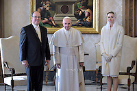 Pope Francis  Prince Albert II  and Princess Charlene of Monaco private audience with the pontiff at the Vatican on January 18, 2016.
