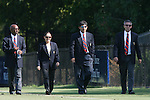 23 September 2007: Match officials walk the field before the game. From left: David McPhun, Sandra Serafini, Abbas Piran, Ernie Fisher. The University of North Carolina Tar Heels defeated the University of San Francisco Dons 2-0 at Koskinen Stadium in Durham, North Carolina in an NCAA Division I Women's Soccer game, and part of the annual Duke Adidas Classic tournament.