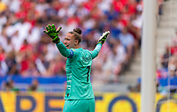 LYON,  - JULY 7: Sari van Veenendaal #1 yells to the referee during a game between Netherlands and USWNT at Stade de Lyon on July 7, 2019 in Lyon, France.