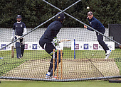 Cricket Scotland - Scotland train at Grange CC, Edinburgh ahead of tomorrow's Scotland V Namibia World Cricket League ONeDay match, the first of two this week on the same ground -  Mark Watt net bowling with Craig Wallace waiting his turn to bat - picture by Donald MacLeod - 10.06.2017 - 07702 319 738 - clanmacleod@btinternet.com - www.donald-macleod.com