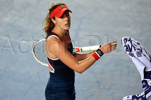 13.10.2016. Hong Kong, China.  Alize Cornet of France reacts during for womens  singles second round match against Venus Williams of the United States at the WTA Tennis Damen Hong Kong Open tennis tournament in Hong Kong, south China, Oct. 13, 2016. Cornet won 2-1.