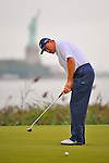 28 August 2009: Ernie Els of South Africa putts on the 14th green during the second round of The Barclays PGA Playoffs at Liberty National Golf Course in Jersey City, New Jersey.