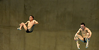 Mexico's Yahel Castillo Huerta and Juan Celaya Hernandez Compete in the Men's 3m Synchro Springboard<br /> <br /> Photographer Hannah Fountain/CameraSport<br /> <br /> FINA/CNSG Diving World Series 2019 - Day 1 - Friday 17th May 2019 - London Aquatics Centre - Queen Elizabeth Olympic Park - London<br /> <br /> World Copyright © 2019 CameraSport. All rights reserved. 43 Linden Ave. Countesthorpe. Leicester. England. LE8 5PG - Tel: +44 (0) 116 277 4147 - admin@camerasport.com - www.camerasport.com