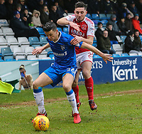 Callum Reilly of Gillingham holds off Lewis Coyle of Fleetwood Town during the Sky Bet League 1 match between Gillingham and Fleetwood Town at the MEMS Priestfield Stadium, Gillingham, England on 27 January 2018. Photo by David Horn.