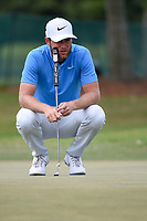 Lucas Bjerregaard (DEN) lines up his putt on 1 during round 4 of the 2019 Houston Open, Golf Club of Houston, Houston, Texas, USA. 10/13/2019.<br /> Picture Ken Murray / Golffile.ie<br /> <br /> All photo usage must carry mandatory copyright credit (© Golffile | Ken Murray)
