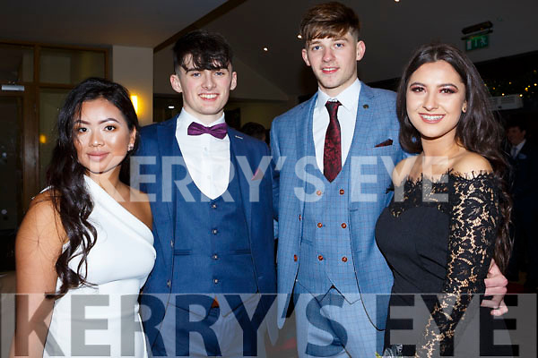 Tam Lynch (Tralee), Mike Tobin (Fenit), Rory O'Connor (Tralee) and Nela Vugayova (Tralee) attending the Gaelcholáiste Chiarrai Debs in the Ballyroe Heights Hotel on Tuesday night last.