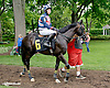 Brother Mark  with Alice Mills before The International Ladies Fegentri  group at Delaware Park racetrack on 6/9/14