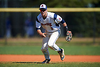 FDU-Florham Devils third baseman Josh DellaPietro (9) during the first game of a doubleheader against the Farmingdale State Rams on March 15, 2017 at Lake Myrtle Park in Auburndale, Florida.  Farmingdale defeated FDU-Florham 6-3.  (Mike Janes/Four Seam Images)