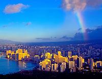 Rainbow over Honolulu Honolulu Hawaii  Island of Oahu  Seen from Diamond Head top  Waikiki Beach