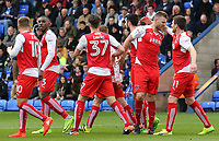 Fleetwood Town's Ashley Eastham (second right) is mobbed after scoring his sides second goal <br /> <br /> Photographer David Shipman/CameraSport<br /> <br /> The EFL Sky Bet League One - Peterborough United v Fleetwood Town - Friday 14th April 2016 - ABAX Stadium  - Peterborough<br /> <br /> World Copyright &copy; 2017 CameraSport. All rights reserved. 43 Linden Ave. Countesthorpe. Leicester. England. LE8 5PG - Tel: +44 (0) 116 277 4147 - admin@camerasport.com - www.camerasport.com