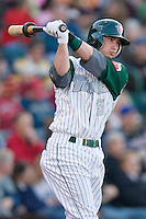 Drew Cumberland #3 of the Fort Wayne Tin Caps in the on deck circle at Parkview Field April 16, 2009 in Fort Wayne, Indiana. (Photo by Brian Westerholt / Four Seam Images)