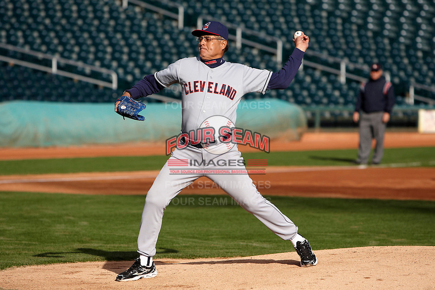 Former major league pitcher Sid Monge delivers a pitch during the campers vs pros game at the Cleveland Indians Fantasy Camp at Goodyear Stadium on January 19, 2012 in Goodyear, Arizona.  (Mike Janes/Four Seam Images)