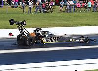 Apr 23, 2017; Baytown, TX, USA; NHRA top fuel driver Tony Schumacher during the Springnationals at Royal Purple Raceway. Mandatory Credit: Mark J. Rebilas-USA TODAY Sports