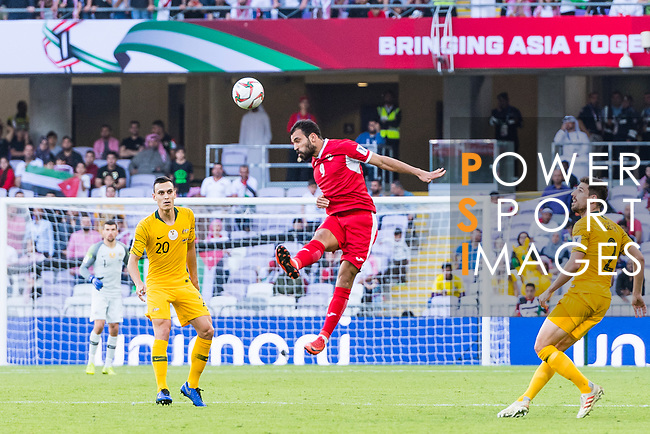 Baha' Seif of Jordan heads the ball during the AFC Asian Cup UAE 2019 Group B match between Australia (AUS) and Jordan (JOR) at Hazza Bin Zayed Stadium on 06 January 2019 in Al Ain, United Arab Emirates. Photo by Marcio Rodrigo Machado / Power Sport Images