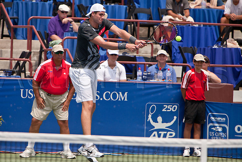 July 24, 2010:  ATP Atlanta Tennis Championship:  John Isner returns a backhand in the semifinals match  against Kevin Anderson  at the Atlanta Athletic Club in Johns Creek, GA on July 24, 2010.