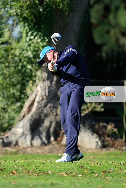 Peter Jones (Coollattin G.C) on the 1st tee during Round 1 of The Cassidy Golf 103rd Irish PGA Championship in Roganstown Golf Club on Thursday 10th October 2013.<br /> Picture:  Thos Caffrey / www.golffile.ie