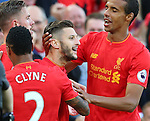 Adam Lallana of Liverpool celebrates his goal during the Premier League match at Anfield Stadium, Liverpool. Picture date: September 10th, 2016. Pic Simon Bellis/Sportimage
