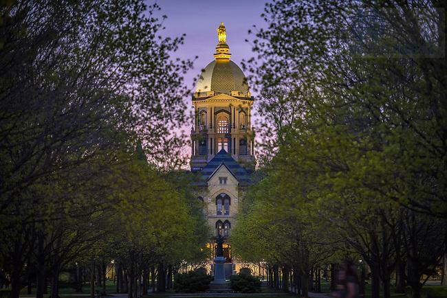 April 16, 2016; Main Building in Spring (Photo by Matt Cashore/University of Notre Dame)